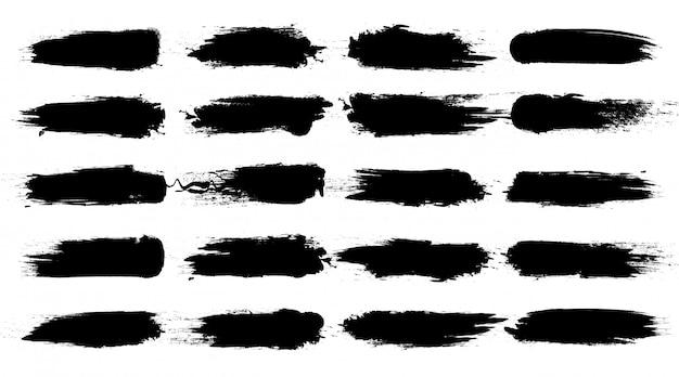 Коллекция мазков кисти. абстрактные чернила брызги в стиле гранж. текстура мазка и пятна