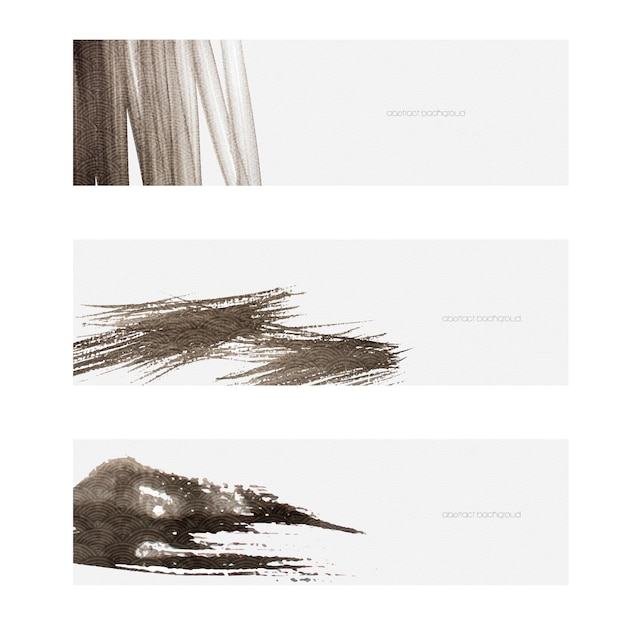 Brush stroke object with japanese wave pattern vector. black texture banner in asian style.