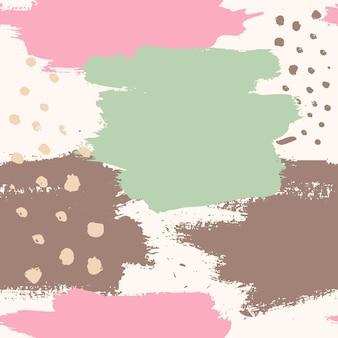 ブラシストローク抽象的なシームレスパターン。ポスター、パンフレット、カード、印刷物、テキスタイル、カバーを印刷するためのグランジカラフルな背景。ピンクとミントカラーのミニマリストのトレンディなデザイン。
