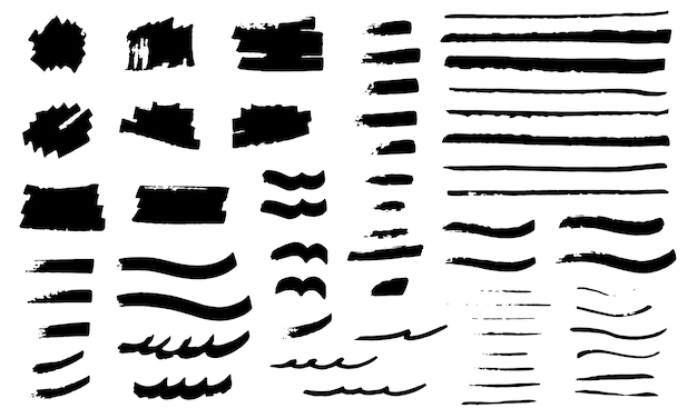 Brush strokes set. grunge elements collection.