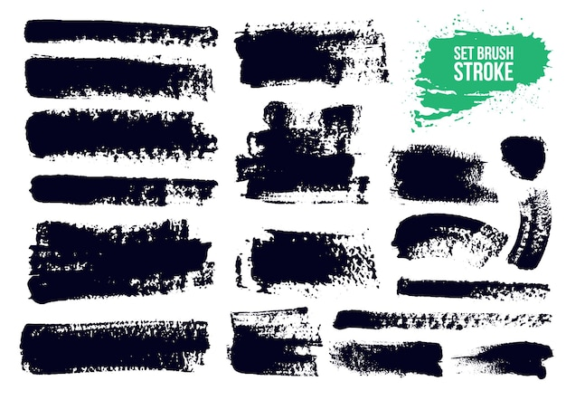 Brush strokes text boxes set.