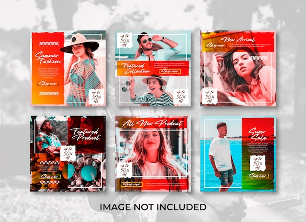 Brush summer fashion store social media banner instagram templates