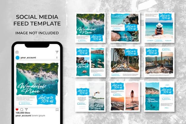 Brush travel adventure social media banner instagram templates