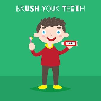 ブラシあなたの歯のキャンペーンのポスター