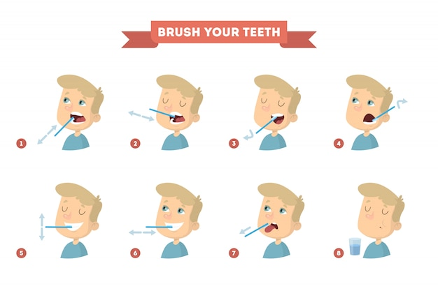 Brush your teeth set with boy. healthy instruction.