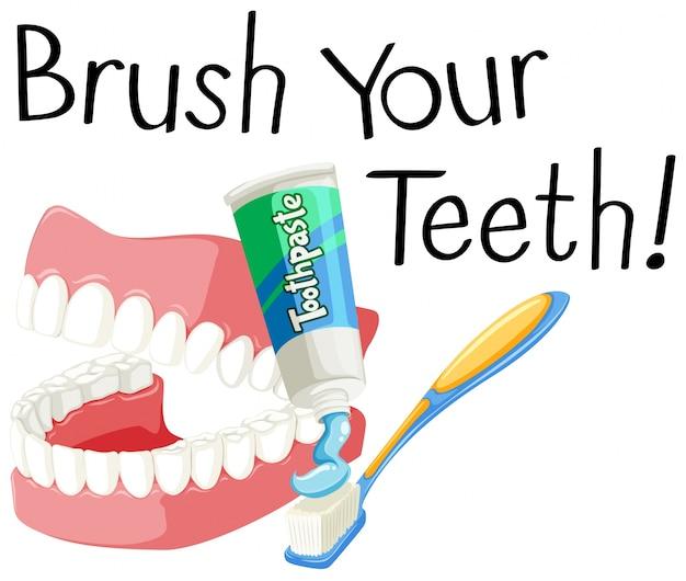 歯ブラシで歯を磨いてペーストする