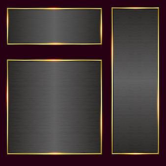 Brushed metal banner in golden frame set