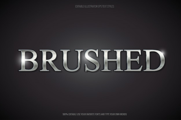 Brushed steel editable text effect