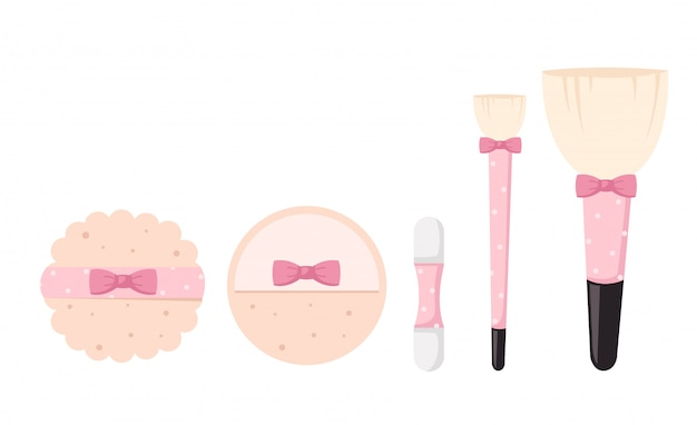 Brushes for makeup isolated illustration