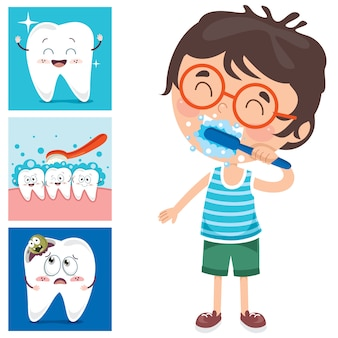 Brushing teeth concept with cartoon character