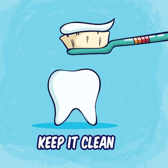 Brushing teeth and keep it clean with toothbrush on blue