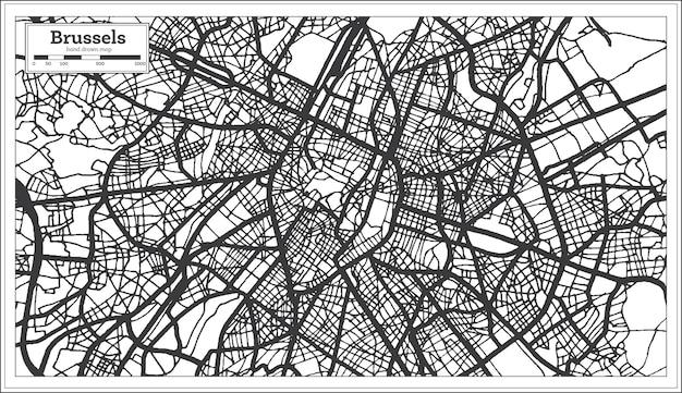 흑백 색상의 브뤼셀 벨기에 도시 지도. 개요 지도. 벡터 일러스트 레이 션.