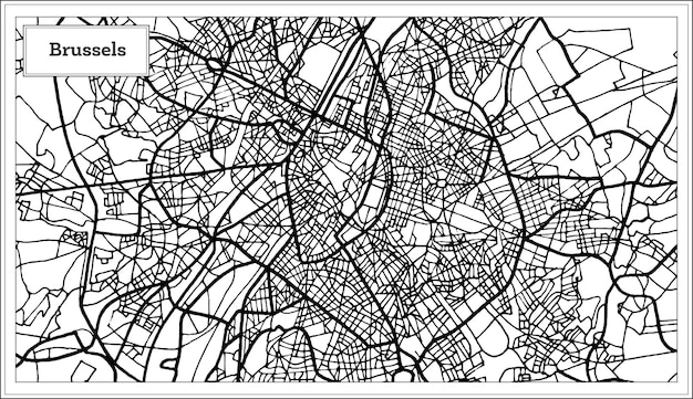 Брюссель карта бельгии в черно-белом цвете. векторные иллюстрации. контурная карта.
