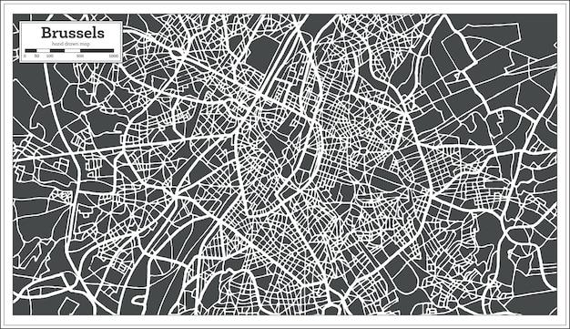 Карта брюсселя бельгии в стиле ретро. векторные иллюстрации. контурная карта.