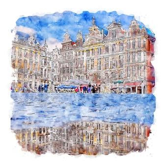 브뤼셀 벨기에 수채화 스케치 손으로 그린 그림