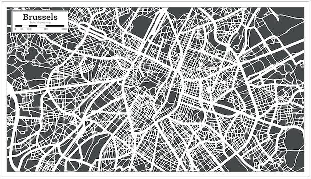 복고 스타일의 브뤼셀 도시지도. 개요 지도. 벡터 일러스트 레이 션.