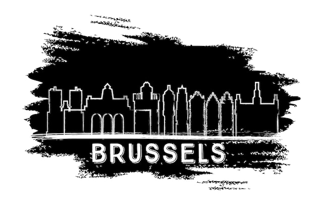 Brussels skyline silhouette. hand drawn sketch. business travel and tourism concept with historic architecture. image for presentation banner placard and web site. vector illustration. Premium Vector