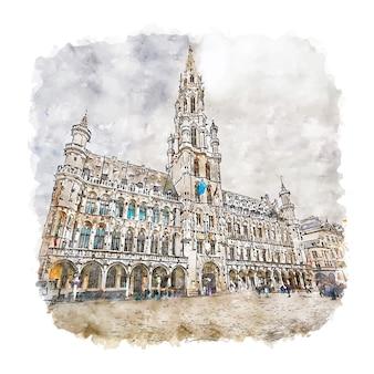 ブリュッセル市庁舎ベルギー水彩スケッチ手描きイラスト