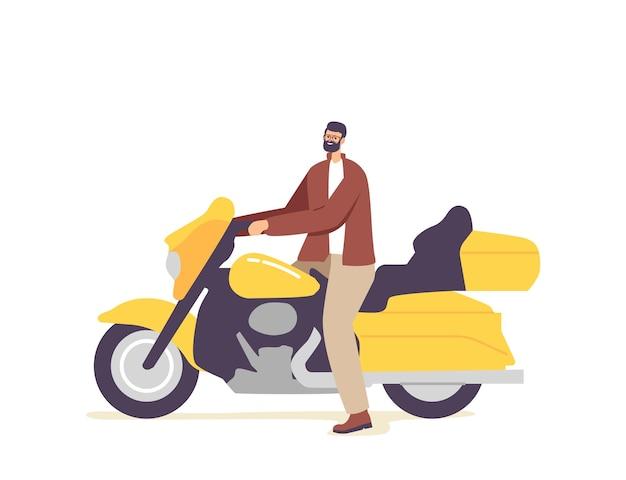 맞춤형 노란색 오토바이를 타는 잔인한 바이커 젊은 남성 캐릭터, 헬기에 앉아 있는 남자, 도시 하위 문화, 스트리트 레이서 취미 또는 라이프스타일, 도시 문화 개념. 만화 사람들 벡터 일러스트 레이 션