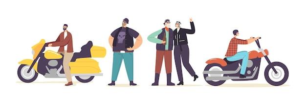残忍なバイカーのスカルプリントの革の服とゴーグルのヘルメットのシニアと若いキャラクターは、カスタムバイクに乗って、ビールを飲み、人生を楽しんでいます。漫画の人々のベクトル図