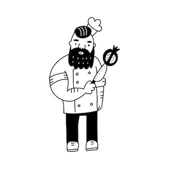 Жестокий рисованный бородатый вождь с ножом и гранатом крутой каракули vactor иллюстрации n черно-белый