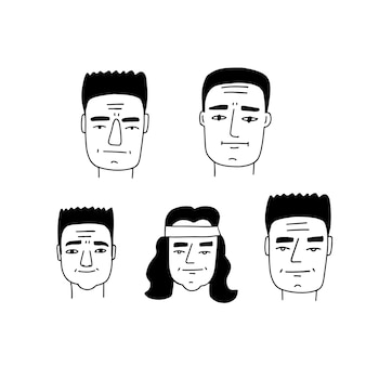 残忍な男性の顔の似顔絵セット落書き線画