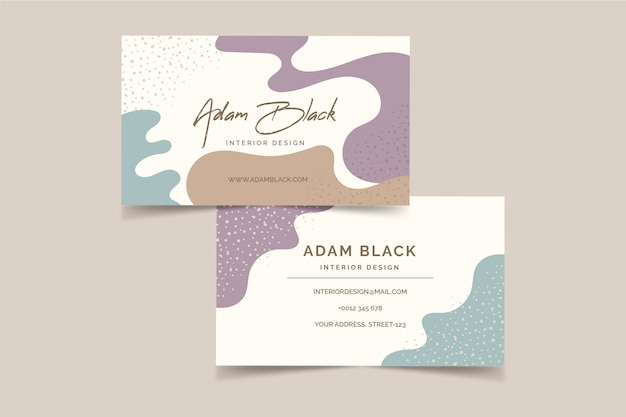 Bstract business card template with pastel-colored stains