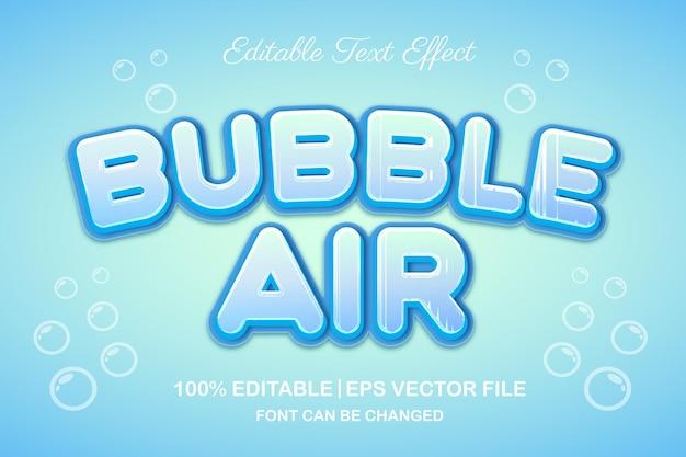 Редактируемый текстовый эффект пузыря воздуха 3d