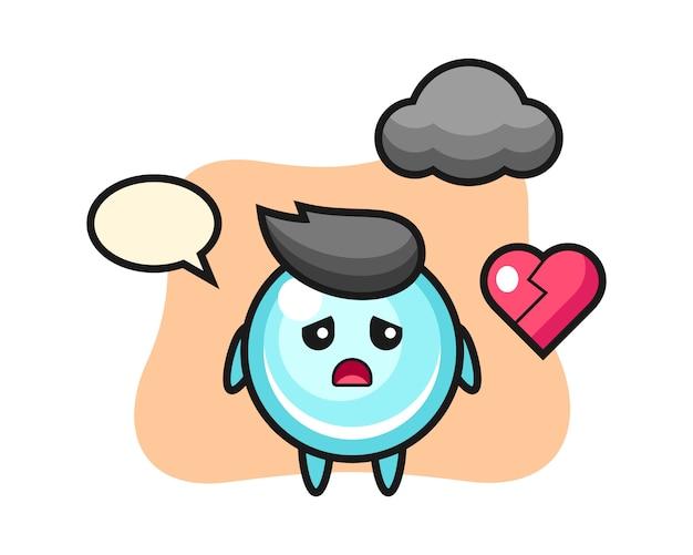 Иллюстрация шаржа пузыря разбитое сердце, милый дизайн стиля