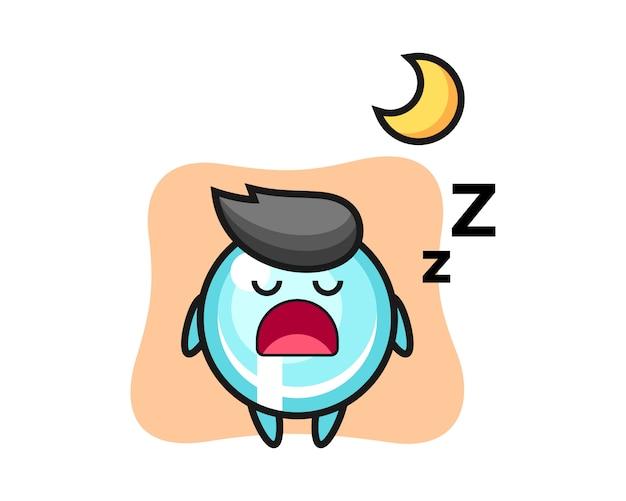 夜寝ている泡キャライラスト、キュートなスタイルデザイン