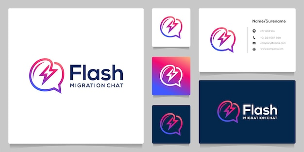 Bubble chat flash bolt electric line outline logo design with business card