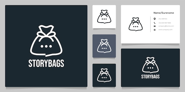 Bubble chat story bag money logo design line logo design