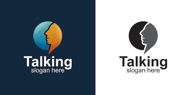 フェイスチャットのロゴデザインとバブルチャット会話シンボル