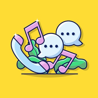 Иллюстрация графика бизнес-голосового вызова с портативным телефоном, bubble chat и значок тона