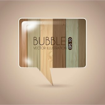 Bubble design over wooden background vector illustration