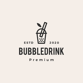Bubble drink boba hipster vintage logo icon illustration