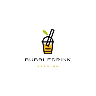 Bubble drink tea logo icon illustration