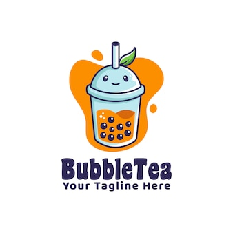 Bubble drink tea logo with leaf illustration cartoon character style mascot logo