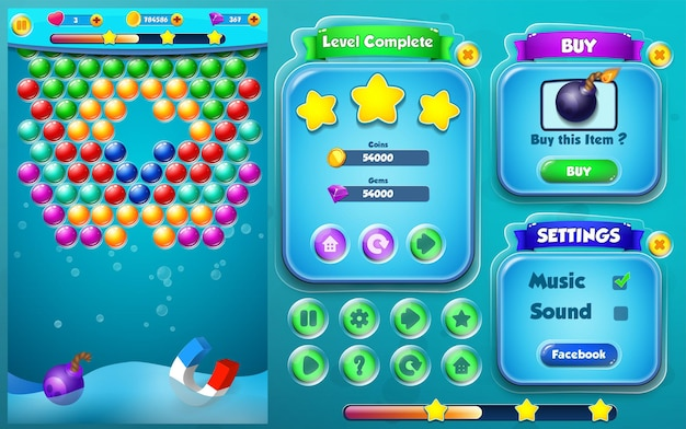 Bubble game play with level complete, buy and settings menu pop ups
