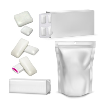 Bubble gum blank packaging collection set vector. sugar-free spearmint chewing bubble gum with jam glossy pouch, blister and package. eatery teeth care rubber mockup realistic 3d illustrations