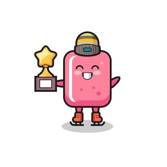 아이스 스케이팅 선수로서의 풍선껌 만화는 우승 트로피, 티셔츠, 스티커, 로고 요소를 위한 귀여운 스타일 디자인을 보유하고 있습니다.