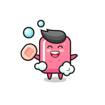풍선껌 캐릭터는 비누를 들고 목욕하고 있으며 티셔츠, 스티커, 로고 요소를 위한 귀여운 스타일 디자인