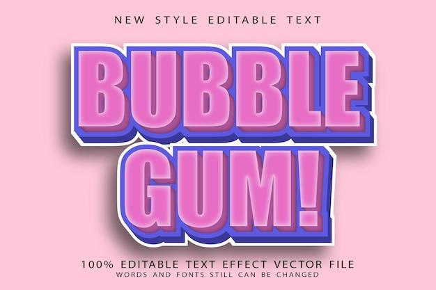 Bubble gum editable text effect emboss cartoon style