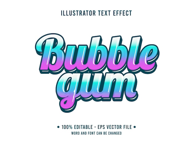 Bubble gum editable text effect jelly style with gradient blue color