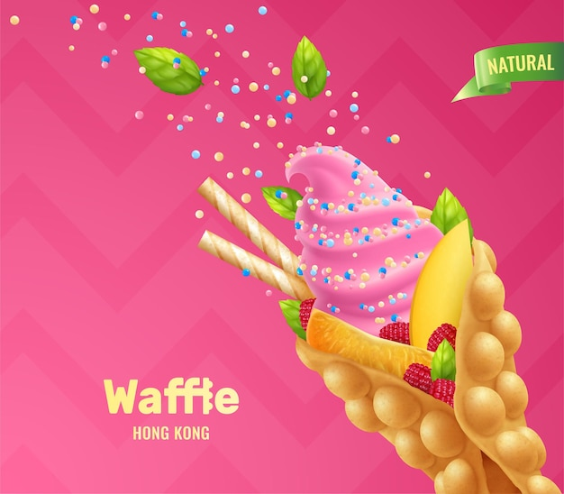 Bubble hong kong waffles realistic composition with fruits berries and colourful grain sugar with editable text