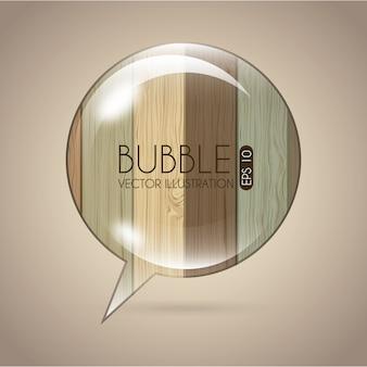 Значок пузырь на фоне деревянных фоне вектор