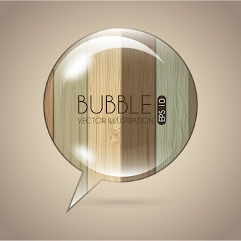 Bubble icon over wooden background vector illustration