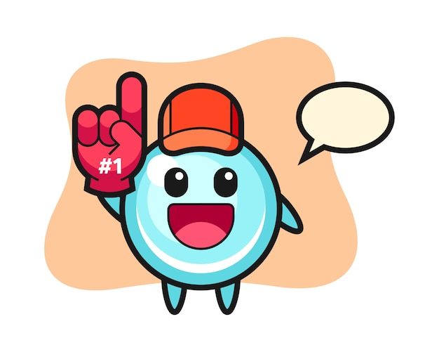 Bubble illustration cartoon with number 1 fans glove, cute style design