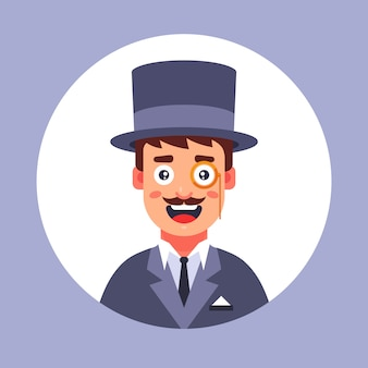 Bubble man in the 19th century wearing a hat. flat illustration.