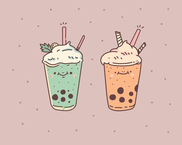 Пузырьковый чай с молоком. пузырьковый чай с молоком. пузырь молочный чай векторные иллюстрации